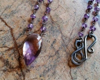 Ametrine and Amethyst Oxidized Sterling Silver Necklace