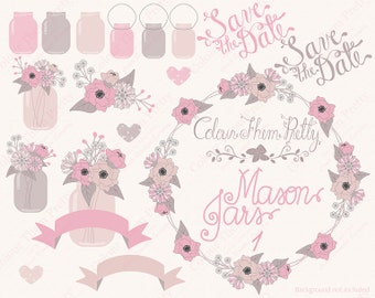 Mason Jars and Flowers 1 Pink Peach {Vectors Clip Arts Illustrator Graphics}