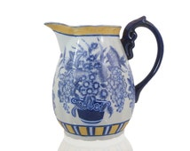 Oriental Accent LTD, Hand Painted Blue and White Pitcher,, Vintage, Shabby, Cottage Chic, French Country Home Decor