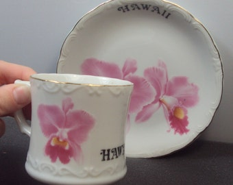 Tajima China Pink Hibiscus Hawaii Souvenir Teacup & Saucer