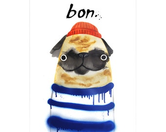 Bon Pug A3 Art Print