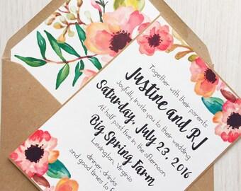 Rustic wedding invitation - floral wedding invitation - bright wedding invitation - kraft and white wedding invitation