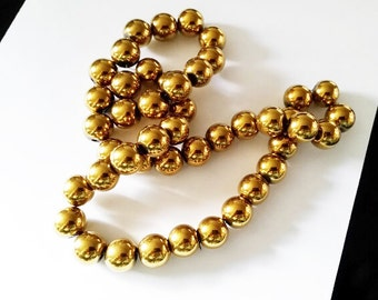 20 Hematite Gold Plated Loose Beads 10mm Jewelry Supplies HGPB10-20BD2-66