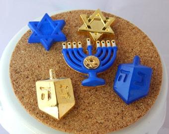 Hanukkah thumbtacks - Chanukah decor, teacher gift. For college dorm, office, kitchen, classroom. dreidel, menorah, Star of David, Hebrew
