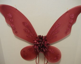 Red Butterfly/Pixie wings for toddlers through adult! Use for Costumes, parties, holidays, photos and more!