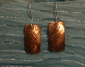 Ripple Etched Copper Earrings
