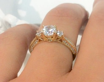 14K Solid Gold 3 Stone Engagement Ring CZ Trilogy Cubic Zirconia Promise Ring 14K CZ Trio Wedding Ring Cathedral Set Mariage Proposal Ring