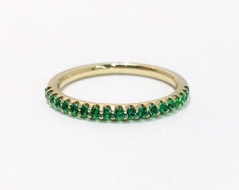14K Green Cubic Zirconia Half Eternity Band 1.7mm Yellow Gold Eternity Ring 14K Pave CZ Matching Band 14K Green Birthstone Stacking Ring