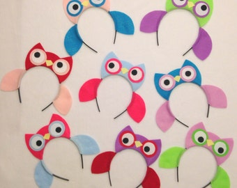 Owl Woodland wild animal nature theme forest creatures ears eye headband birthday party favors supplies costume invitation hat