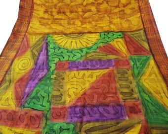 Vintage Saree  Decorative Recycle 5Yd Sarong Drape Indian Women Dress Craft Fabric Brown Pure Silk Floral Printed Art Deco Used Sari PS37473