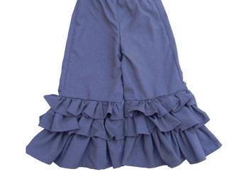 Blue Linen Triple Ruffle Pants