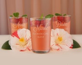 Flower Girl Personalized Juice Glasses Engraved for your Recipient with Our Bridal Party Monogram Design Options (Each - 6.75 oz.)