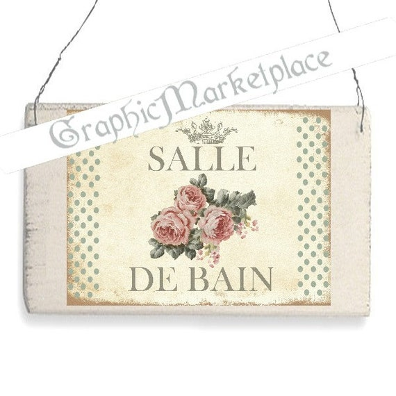 Salle de bain bath roses polka dots door hanger digital for Salle de bain door sign