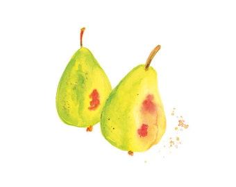 Pears Watercolor Print, Kitchen Wall Decor, Fruit Watercolor Painting, Pears Wall Art, Pears Art, Pears Decor, Kitchen Wall Art