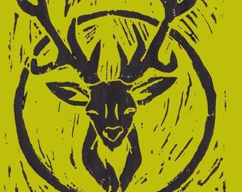 My Deer Lino Print