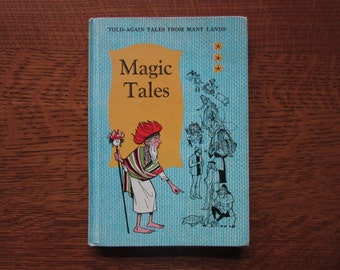 Magic Tales, Holl, Tales from Many Lands, 1964, Vintage Children's Book, World,International,Anthology,Bedtime Stories,Merrill,Homeschooling