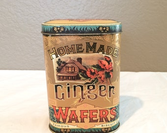 VINTAGE TIN CAN 'Homemade Ginger Wafer Cookies by Famous Bisquit Company