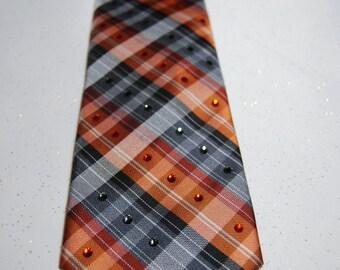 Grey/silver and orange plaid rhinestone necktie