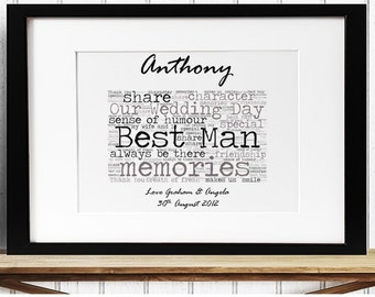 Personalised Best Man Wedding Thank You Framed Word Art
