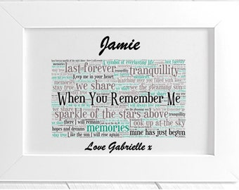 Personalised Remembrance Framed Word Art - When You Remember Me