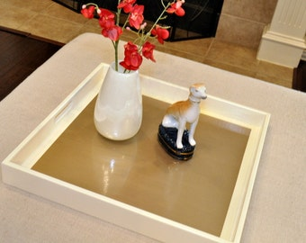 """22"""", 24"""" or 26"""" Square Large Ottoman Tray - Cream and Gold"""