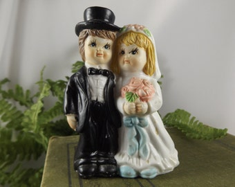 Vintage Wedding Cake Topper Ceramic Bride & Groom Cake Topper