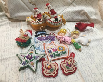 Vintage Hand Made Beaded Felt Christmas Ornaments Collection