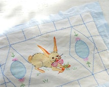 Vintage Baby Bedding Sham, Little Rabbit, Infant Bedding, Crib Pillow Sham, Change Table Pillow, Snap Enclosure, Vintage Baby Easter