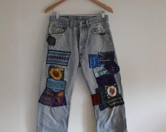 Vintage 60s Levi's 501 Hippie Patched Distressed Jeans 31 x 30