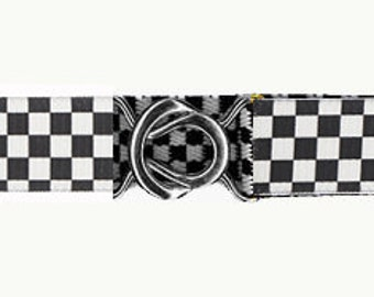 STRETCH-ELASTIC-BELT - Black and White Check * 3-Sizes for Kids & Adults *  Adjustable * Bottle Opener Buckle