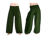 Harem pants harem pants pocket Aladin Bohemian hippie Palazzo Festival woman men pants trousers GREEN Green