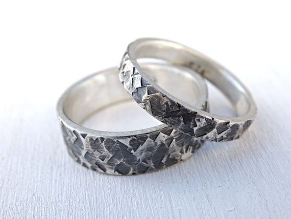 silver wedding rings unique wedding ring set square pattern