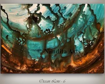 "Original Wall Art Abstract painting Turquoise Paintings Modern Art Canvas Art LARGE modern art 36"" abstract art sale fine art Nandita"