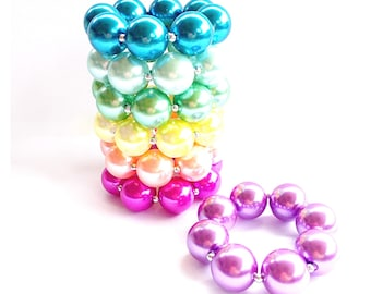 Solid Colored Pearl chunky bracelet toddler/girls