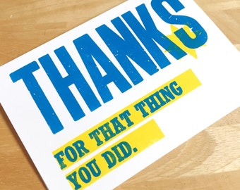 A6 letterpress 'Thank you' card..