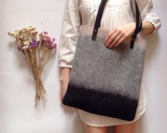 Felted Tote Bag, Grey Hand Felted Tote, Pastel Colors Bag, Shoulder Bag, Handbag, Wool Felted Bag, Black and Gray Bag, Women Bag