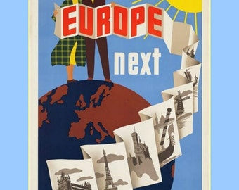 "11 x 14"" cotton canvas art print- travel see europe next, tourism 1940-50s"