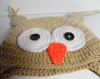 Child/ toddler, Knit OWL hat/ cap