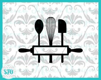 Baking Utensils Monogram Cutout - SVG & PNG Files