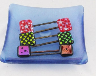 Fused Glass Bobby Pins - Hair Clips - Heart or starburst hair pins - Dichroic hair jewelry  (4332-4333-4334))