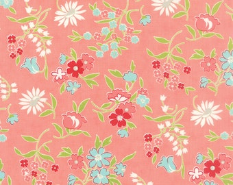 SALE!! 1/2 Yard - Vintage Picnic-Bonnie and Camille - Coral - Moda - Fabric Yardage - 55125-13