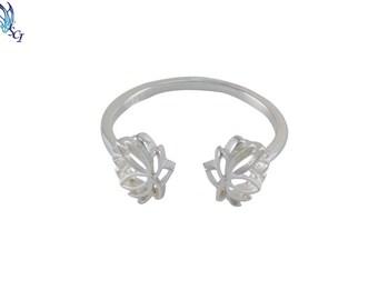 Lotus Flower Adjustable Ring In Sterling Silver, Small Lotus Ring, Flower Ring, Adjustable Ring, Everyday Wear, Simple, Lotus, Minimal SR232
