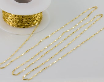 Flat Bar Chain, Gold Filled, Sterling Silver Chain by Foot, Layering, Modern, Simple Chain, Everyday Wear, Delicate, Dainty,SCNF120