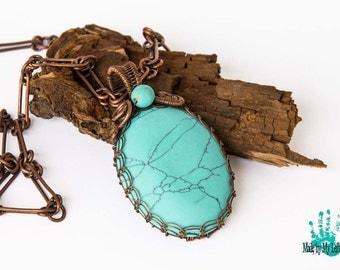 Turquoise pendant necklace Copper pendant Wire Wrapped Necklace Wire Woven Necklace Viking knit necklace Turquoise jewelry Copper jewelry
