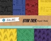 Star Trek Letter Sized Paper Pack : 42 Printable Digital Scrapbook Paper