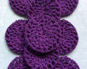 Purple crochet cotton rounds, reusable cotton rounds, crochet rounds, face pads, makeup remover pads, washable cotton pads, crochet pads