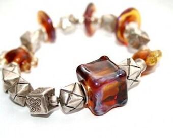 TOPAZ CUBEs - Bracelet, topaz, silverglass, Sterling Silver 925 beads
