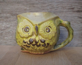 Vintage Owl Coffee Cup Mug - Bennet Welsh Pacific Stoneware Pottery