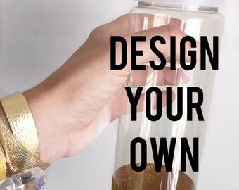 Custom Water Bottle; Choose your design, Design Your Own Water Bottle; Glitter Dipped Water Bottle; Water Bottle