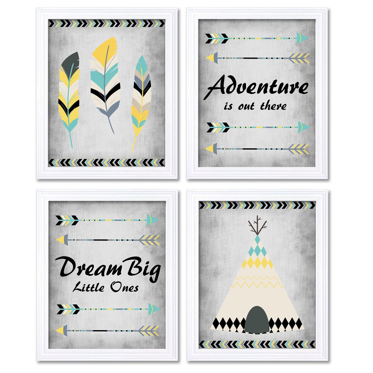 Tribal Nursery Art Yellow Turquoise Grey Beige Print Set of 4 Wall Decor Adventure is Out There Drea